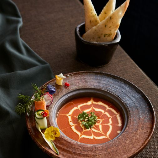Tomato soup, cream and crispy mille-feuille